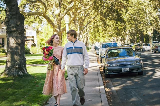 "Lucas Hedges, right, with Saoirse Ronan in ""Lady Bird."" (Photo: A24/courtesy Everett Collection)"