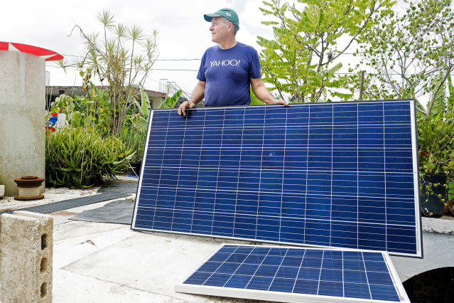 Jesse hopes these solar panels will free him from reliance on generators. (Photo:: Jose R. Madera for Yahoo News)