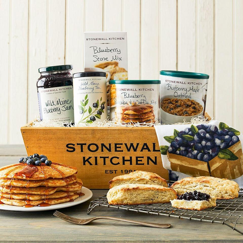 """<p><strong>Tillen Farms</strong></p><p>stonewallkitchen.com</p><p><strong>$54.95</strong></p><p><a href=""""https://go.redirectingat.com?id=74968X1596630&url=https%3A%2F%2Fwww.stonewallkitchen.com%2Fblueberry-breakfast-gift-190471.html%23start%3D14&sref=https%3A%2F%2Fwww.countryliving.com%2Flife%2Fg4248%2Ffirst-mothers-day-gifts%2F"""" rel=""""nofollow noopener"""" target=""""_blank"""" data-ylk=""""slk:Shop Now"""" class=""""link rapid-noclick-resp"""">Shop Now</a></p><p>Make mornings a breeze with this kit that comes with delicious ingredients for whipping up a feast.</p>"""