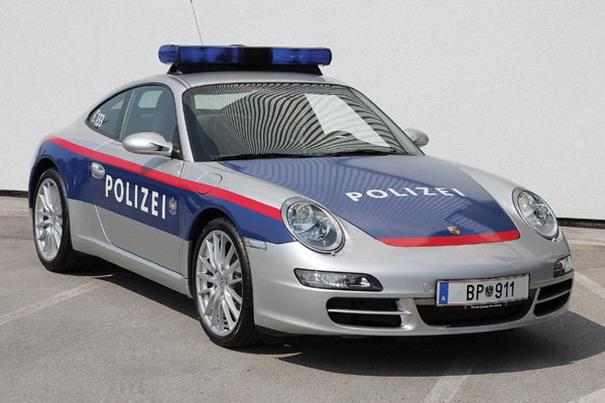 This Porsche 911 Carrera S used by the Federal Police of Austria is capable of over 186 mph and sprinting to 60 mph in just 4.5 seconds.