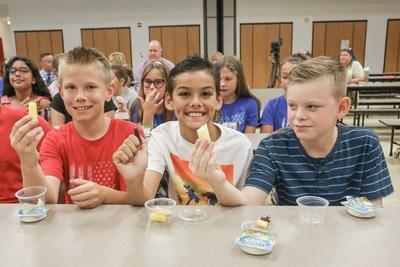 Students at Patriot Elementary School tried three different kinds of carrots as part of a salad bar dedication event sponsored by Bayer in coordination with the United Fresh Start Foundation.