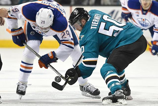 """SAN JOSE, CA – APRIL 18: <a class=""""link rapid-noclick-resp"""" href=""""/nhl/players/6369/"""" data-ylk=""""slk:Leon Draisaitl"""">Leon Draisaitl</a> #29 of the <a class=""""link rapid-noclick-resp"""" href=""""/nhl/teams/edm/"""" data-ylk=""""slk:Edmonton Oilers"""">Edmonton Oilers</a> battles for a faceoff with <a class=""""link rapid-noclick-resp"""" href=""""/nhl/players/5744/"""" data-ylk=""""slk:Chris Tierney"""">Chris Tierney</a> #50 of the <a class=""""link rapid-noclick-resp"""" href=""""/nhl/teams/san/"""" data-ylk=""""slk:San Jose Sharks"""">San Jose Sharks</a> during the first period in Game Four of the Western Conference First Round during the 2017 NHL Stanley Cup Playoffs at SAP Center on April 18, 2017 in San Jose, California. (Photo by Thearon W. Henderson/Getty Images)"""