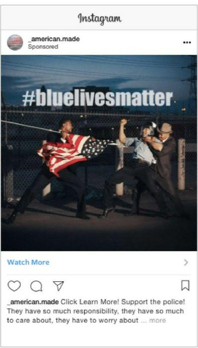 This Instagram ad, featuring an image of a black man spearing a white police officer with the American flag, targeted people who are interested in Ted Cruz or Fox News. The IRA paid 8,865 rubles (roughly $140) for 36,217 impressions and 103 clicks.