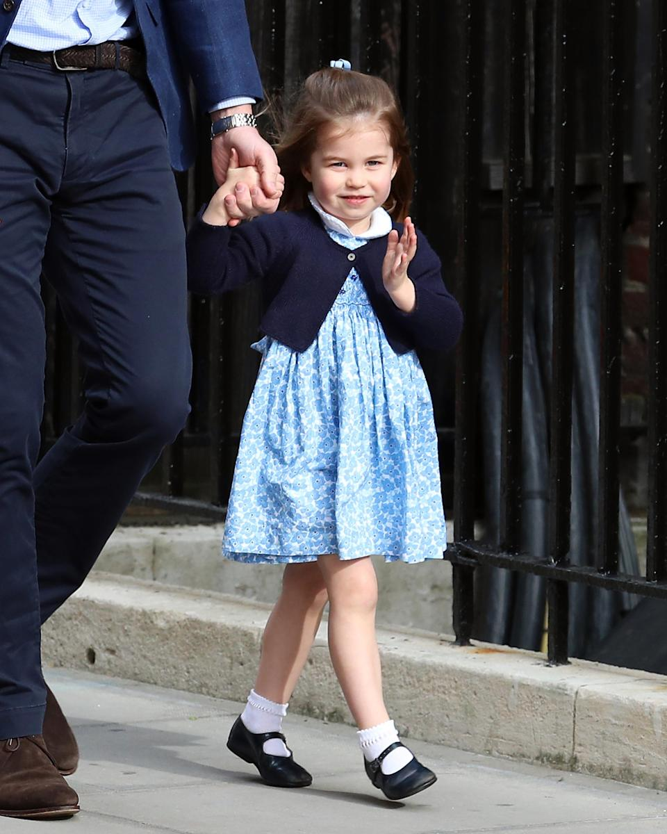 <p>Arriving at the Lindo Wing to meet her baby brother Prince Louis, Princess Charlotte stole the show waving for crowds. Adorable!<br><em>[Photo: Getty]</em> </p>
