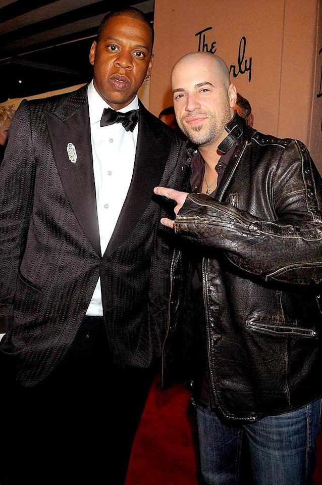 "Even Chris Daughtry couldn't get Jay-Z to crack a smile. Charley Gallay/<a href=""http://www.wireimage.com"" target=""new"">WireImage.com</a> - February 10, 2008"