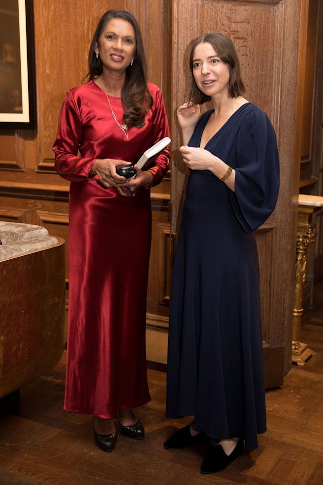 <p><strong>4 December </strong>Gina Miller wore a silky red Catherine Quin design as the designer (right) launched her new collection in London.</p>