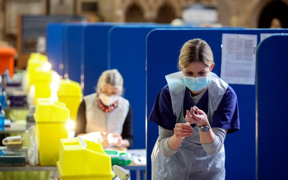 Coronavirus vaccines being prepared at Salisbury Cathedral, Wiltshire.  - Steve Parsons /PA