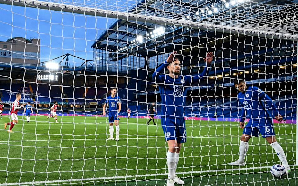 Chelsea v Arsenal, Premier League. Picture By Andy Hooper NMC Pool JORGINHO and Thiago Silva of Chelsea after Emile Smith Rowe of Arsenal scores his teams opening goal of the match