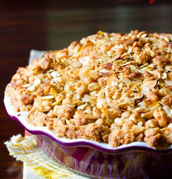 """<strong>Get the <a href=""""http://www.aspicyperspective.com/2013/09/perfect-dutch-apple-pie.html"""" rel=""""nofollow noopener"""" target=""""_blank"""" data-ylk=""""slk:Dutch Apple Pie With Almond Oat Topping recipe"""" class=""""link rapid-noclick-resp"""">Dutch Apple Pie With Almond Oat Topping recipe</a> from A Spicy Perspective</strong>"""