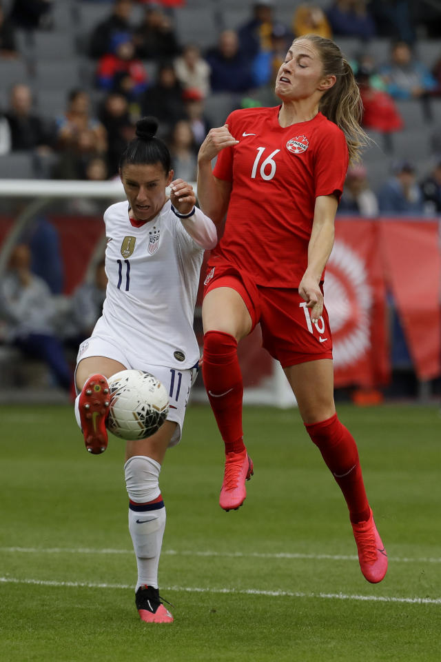 U.S. defender Ali Krieger, left, blocks a shot by Canada forward Janine Beckie during the first half of a CONCACAF women's Olympic qualifying soccer match Sunday, Feb. 9, 2020, in Carson, Calif. (AP Photo/Chris Carlson)