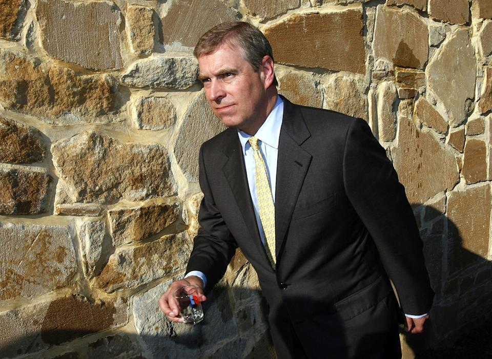 MOUNT VERNON, VA - SEPTEMBER 27:  Prince Andrew, Duke of York takes part in the dedication of the newly restored George Washington Distillery September 27, 2006 in Mount Vernon, Virginia. Prince Andrew joined public officials at historic Mount Vernon to celebrate the official dedication of the distillery.  (Photo by Win McNamee/Getty Images)