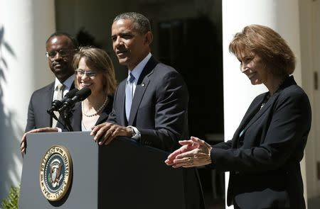 Obama speaks from the Rose Garden of the White House to announce his three nominees to fill vacancies on the United States Court of Appeals for the District of Columbia in Washington