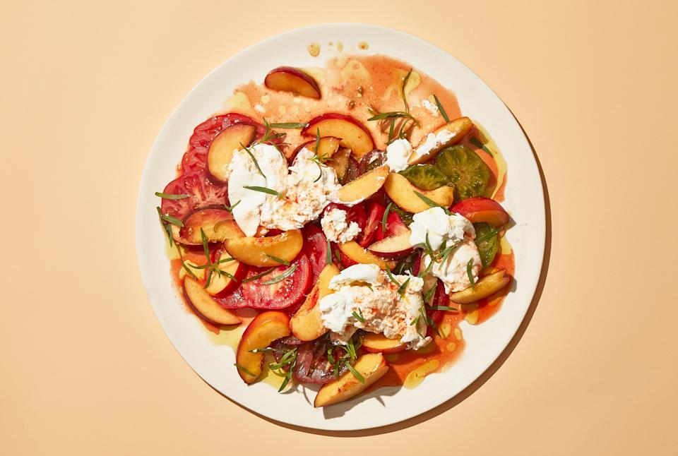 "Take your peaches to dinner: Combine them with a zippy dressing and a creamy cheese and serve with <a href=""https://www.bonappetit.com/recipe/grilled-chicken-wings-with-shishito-peppers-and-herbs?mbid=synd_yahoo_rss"" rel=""nofollow noopener"" target=""_blank"" data-ylk=""slk:grilled wings"" class=""link rapid-noclick-resp"">grilled wings</a> or <a href=""https://www.bonappetit.com/recipe/best-ever-barbecued-ribs?mbid=synd_yahoo_rss"" rel=""nofollow noopener"" target=""_blank"" data-ylk=""slk:pork ribs."" class=""link rapid-noclick-resp"">pork ribs.</a> <a href=""https://www.bonappetit.com/recipe/peaches-and-tomatoes-with-burrata-and-hot-sauce?mbid=synd_yahoo_rss"" rel=""nofollow noopener"" target=""_blank"" data-ylk=""slk:See recipe."" class=""link rapid-noclick-resp"">See recipe.</a>"