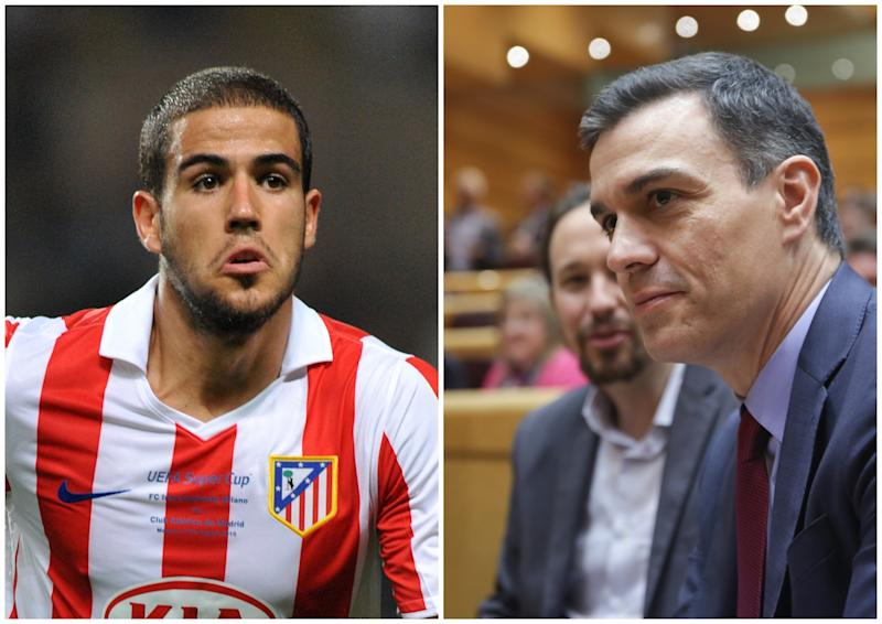 El exjugador del Atlético de Madrid Álvaro Domínguez y Pedro Sánchez, presidente del Gobierno, junto a Pablo Iglesias, vicepresidente segundo. (Foto: Neal Simpson / PA Images / Getty Images / Ricardo Rubio / Europa Press / Getty Images).