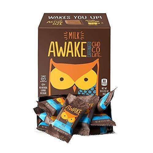 """<p><strong>AWAKE Caffeinated Chocolate</strong></p><p>amazon.com</p><p><strong>$26.10</strong></p><p><a href=""""https://www.amazon.com/dp/B076639K69?tag=syn-yahoo-20&ascsubtag=%5Bartid%7C1782.g.994%5Bsrc%7Cyahoo-us"""" rel=""""nofollow noopener"""" target=""""_blank"""" data-ylk=""""slk:BUY NOW"""" class=""""link rapid-noclick-resp"""">BUY NOW</a></p><p>Caffeinated chocolates are pure genius. </p>"""