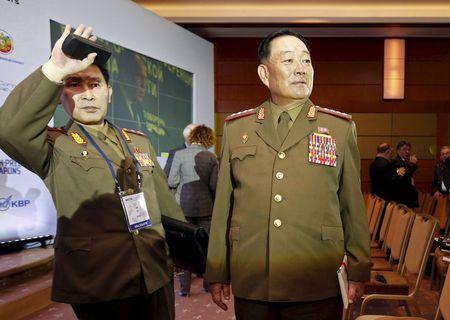 Senior North Korean military officer Hyon Yong Chol (R) attends the 4th Moscow Conference on International Security (MCIS) in Moscow in this April 16, 2015 file photo. REUTERS/Sergei Karpukhin/Files