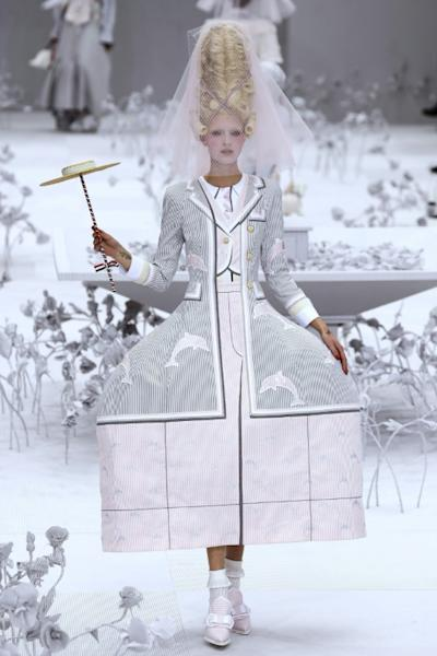 Next year in Versailles: A model at US designer Thom Browne's Paris fashion week show