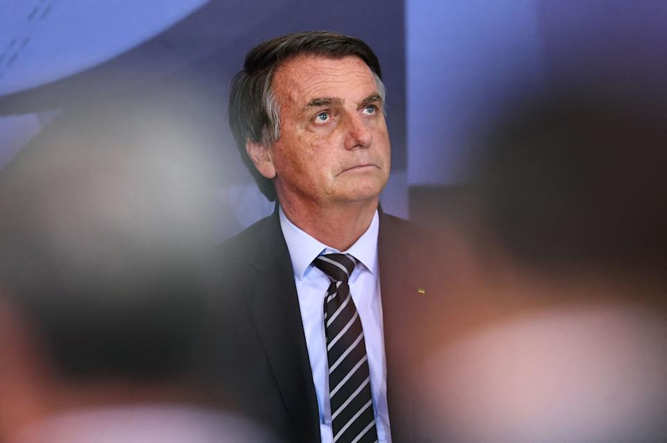 Brazilian President Jair Bolsonaro attends the Marechal Rondon Communications Award ceremony at the Planalto Palace in Brasilia, on September 14, 2021. (Photo by EVARISTO SA / AFP) (Photo by EVARISTO SA/AFP via Getty Images)