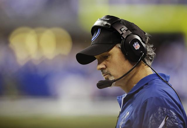 Indianapolis Colts head coach Chuck Pagano watches during the first half of an NFL wild-card playoff football game against the Kansas City Chiefs Saturday, Jan. 4, 2014, in Indianapolis. (AP Photo/AJ Mast)