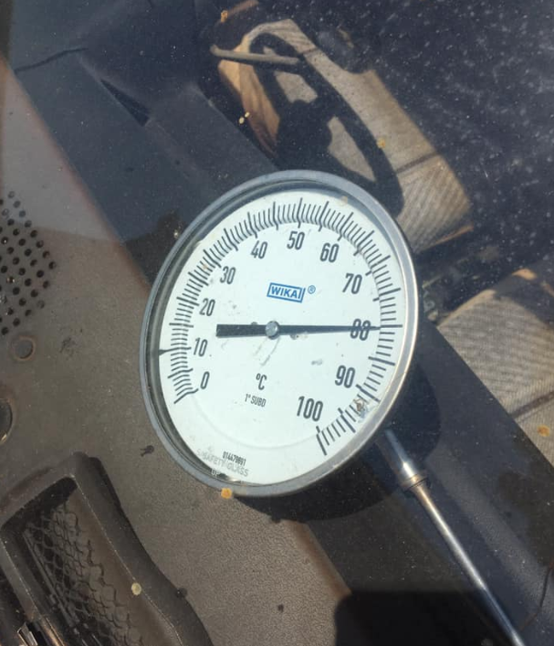 A thermometer shows the temperature reading inside the car. Source: Facebook
