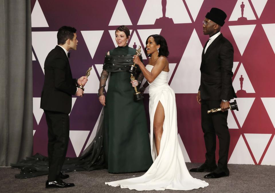 91st Academy Awards – Oscars Photo Room – Hollywood, Los Angeles, California, U.S., February 24, 2019. Best Actor Rami Malek, Best Actress Olivia Colman, Best Supporting Actress Regina King and Best Supporting Actor Mahershala Ali arrive backstage to pose with their awards. REUTERS/Mike Segar
