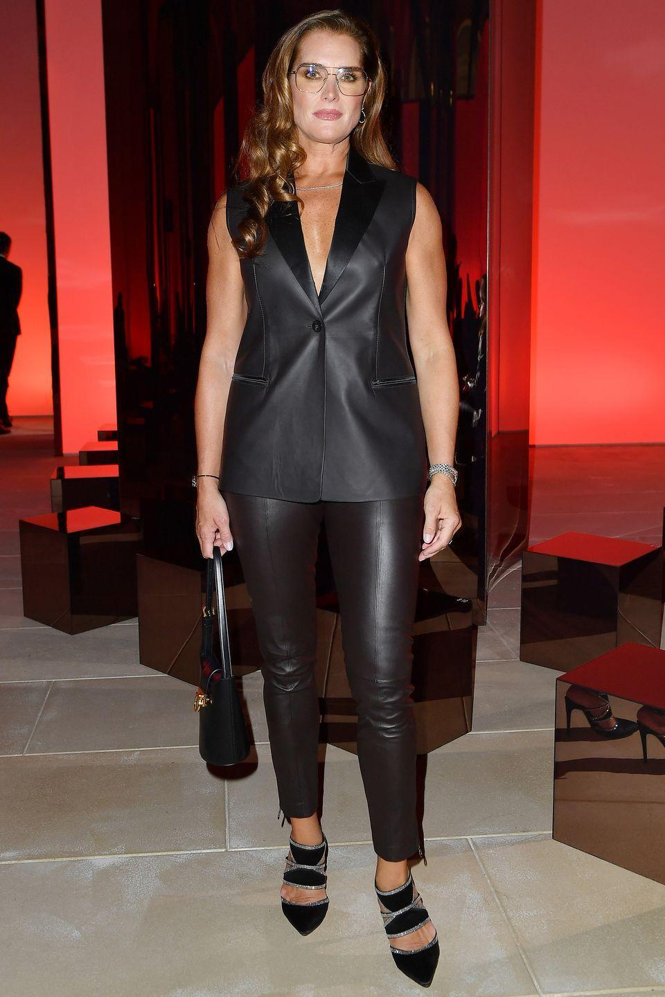 <p><strong>25 September</strong></p><p>Brooke Shields opted for a leather look on the front row at Salvatore Ferragamo. </p>