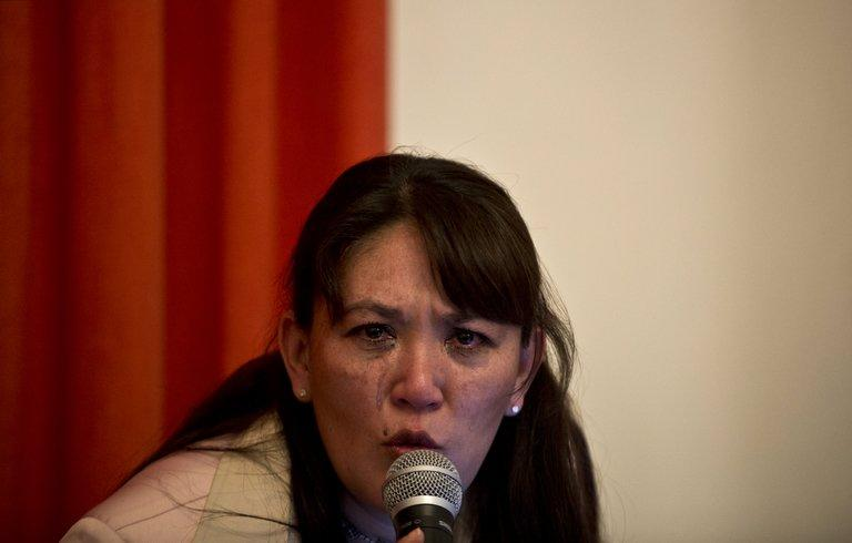Blanca Castro, who says she is a victim of the sect 'Defenders of Christ', in Mexico City, on February 19, 2013