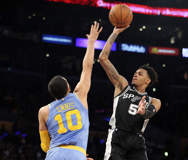 "San Antonio's <a class=""link rapid-noclick-resp"" href=""/nba/players/5660/"" data-ylk=""slk:Dejounte Murray"">Dejounte Murray</a> earned a permanent PG spot this season. (AP Photo/Reed Saxon)"