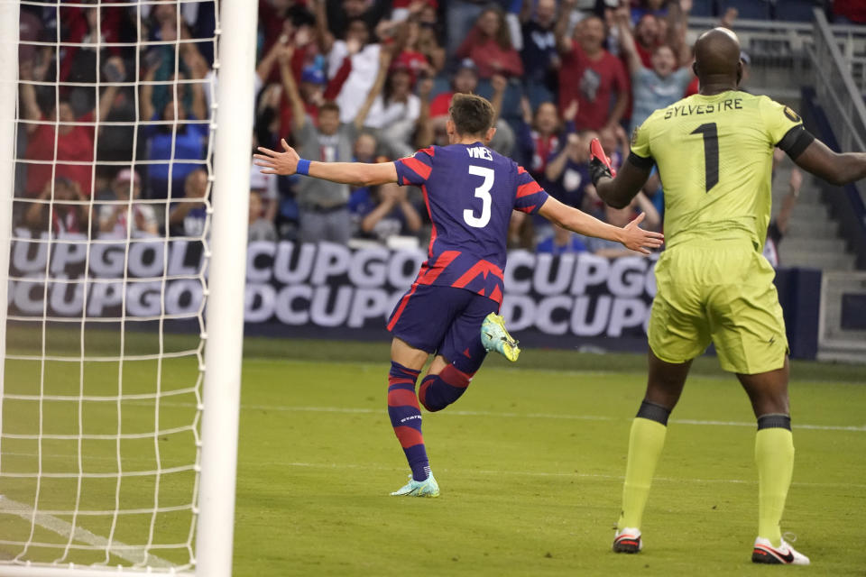 United States defender Sam Vines (3) celebrates after scoring a goal during the first half of a CONCACAF Gold Cup soccer match against Haiti, Sunday, July 11, 2021, in Kansas City, Kan. (AP Photo/Charlie Riedel)