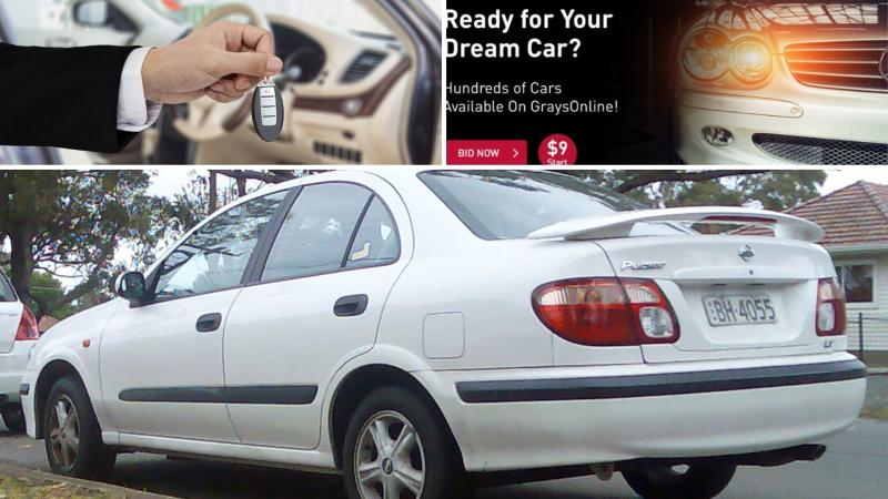 A hand giving car keys, a screenshot of Grays and a 2003 Nissan Pulsar. (Images: Getty, Wikimedia public domain)