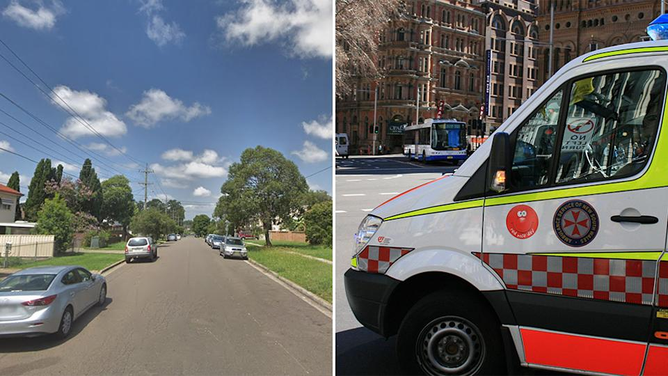 Pictured is Kent Street on the left, the Blacktown street where the one-year-old child was killed and on the right is a generic photo of a NSW Ambulance vehicle.