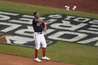 Washington Nationals' Victor Robles reacts after striking out during the seventh inning of Game 5 of the baseball World Series against the Houston Astros Sunday, Oct. 27, 2019, in Washington. (AP Photo/Pablo Martinez Monsivais)