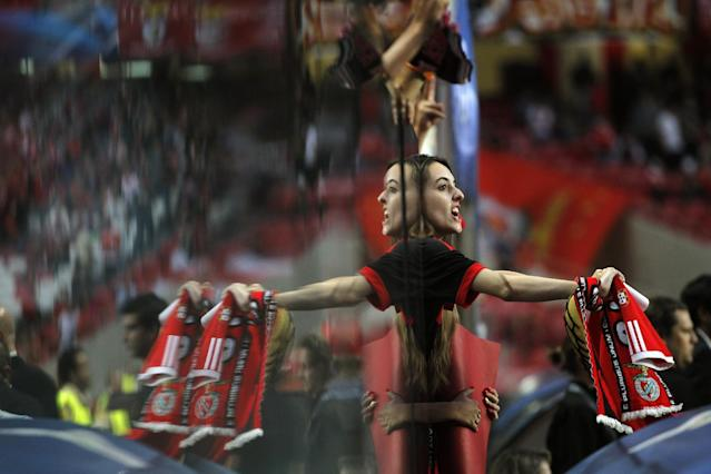 A supporter from Benfica reacts during the Champions League group C soccer match between Benfica and Anderlecht Tuesday, Sept. 17, 2013, at Benfica's Luz stadium in Lisbon. (AP Photo/Francisco Seco)