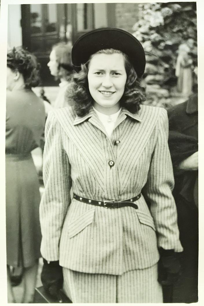Rita Murphy, now 91, in a photo taken in the 1940s. Murphy, from Chicago, felt feverish and weak one day as a high school freshman and later learned that she had contracted polio. She ended up wearing a leg brace for the rest of her life, soldiering on in the face of hardship and sometimes cruelty. Today's coronavirus crisis, with its fear and social distancing, is making many polio-era survivors recall those days before Jonas Salk found a vaccine in 1955.