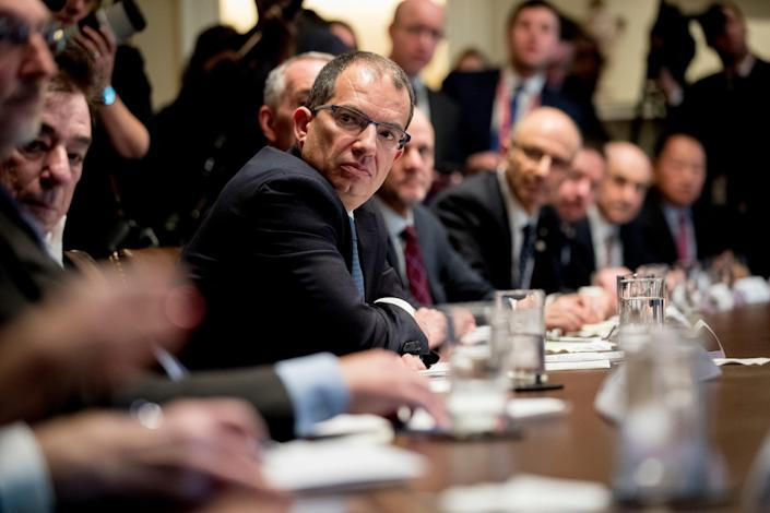 Moderna CEO Stephane Bancel meets with President Donald Trump, the Coronavirus Task Force and pharmaceutical executives in the White House on March 2, 2020.
