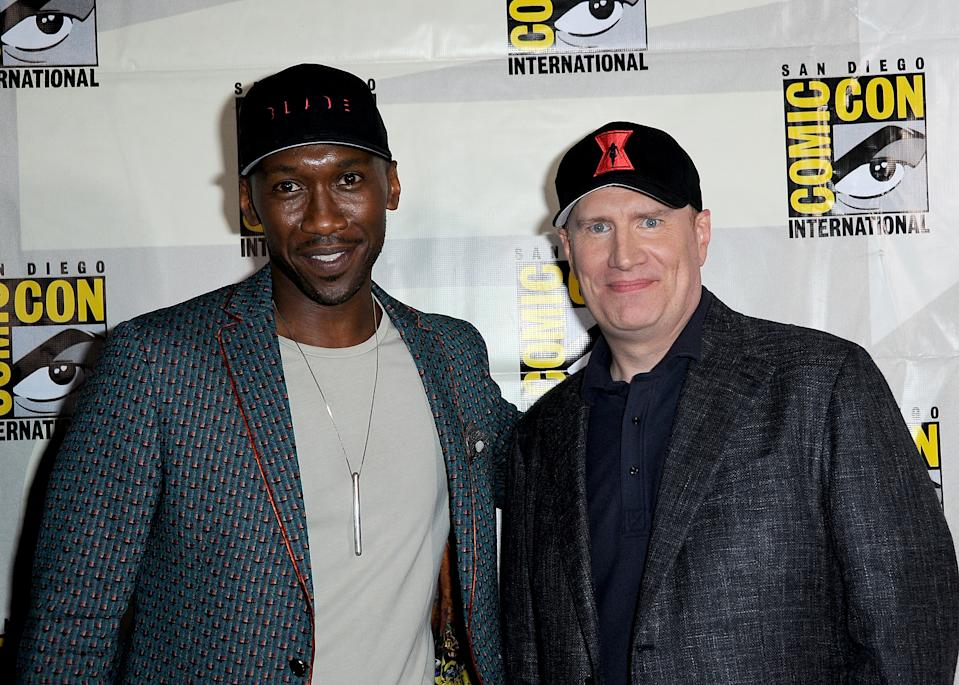 SAN DIEGO, CALIFORNIA - JULY 20:  Mahershala Ali and Kevin Feige attend Marvel Studios Panel during 2019 Comic-Con International at San Diego Convention Center on July 20, 2019 in San Diego, California. (Photo by Albert L. Ortega/Getty Images)