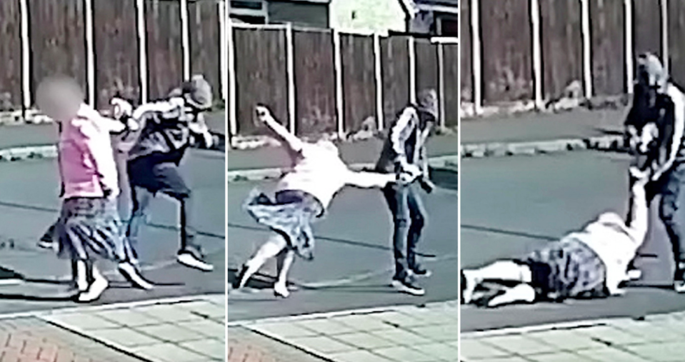 The thug was caught brazenly snatching the handbag from the pensioner in the middle of the street (SWNS)