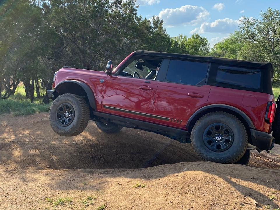 The 2021 Ford Bronco's disconnecting from stabilizer bars increase wheel travel.