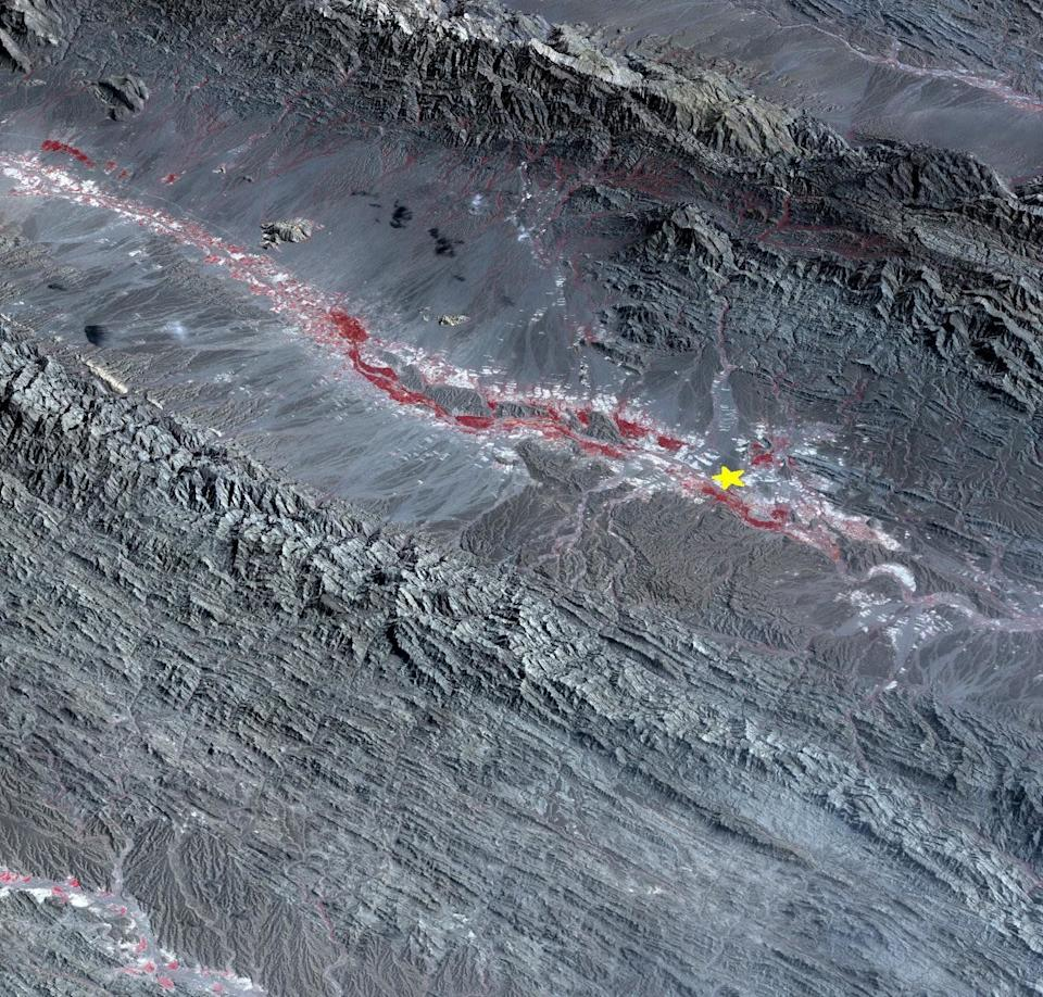 On September 24 at 6.29 a.m. ET, a magnitude 7.7 earthquake struck in south-central Pakistan at a relatively shallow depth of 12 miles. The earthquake occurred as the result of oblique strike-slip motion, consistent with rupture within the Eurasian tectonic plate. Tremors were felt as far away as New Delhi as well as Karachi in Pakistan. Even though the immediate area to the epicenter is sparsely populated, the majority of houses are of mud brick construction and damage is expected to be extensive. The perspective view, looking to the east, shows the location of the epicenter in Pakistan's Makran fold belt.