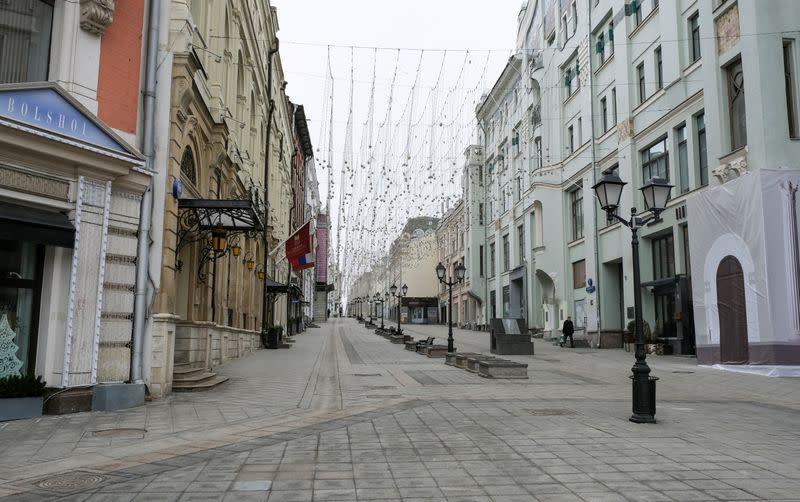 FILE PHOTO: A view shows a street after the city authorities announced a partial lockdown to prevent the spread of coronavirus disease in central Moscow