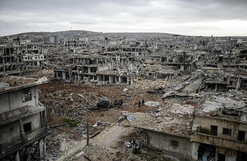 The eastern part of the destroyed Syrian town of Kobane, also known as Ain al-Arab, on January 30, 2015