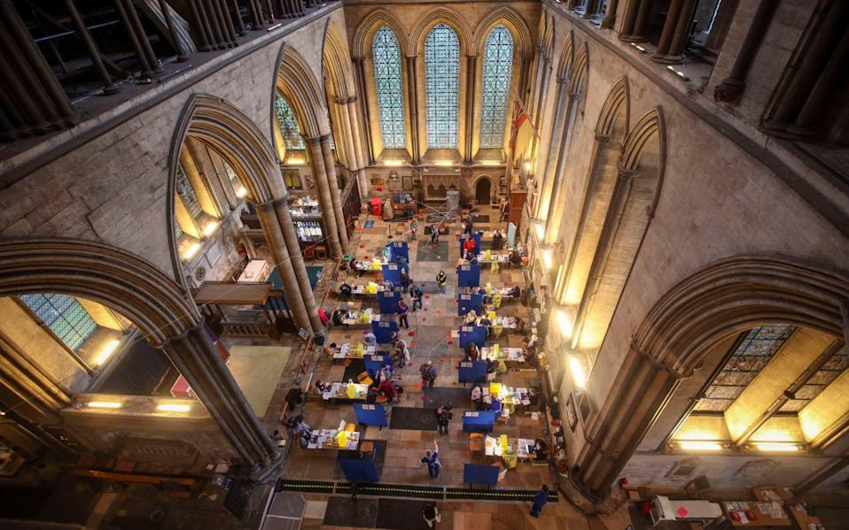 Cubicles erected inside Salisbury Cathedral - PA
