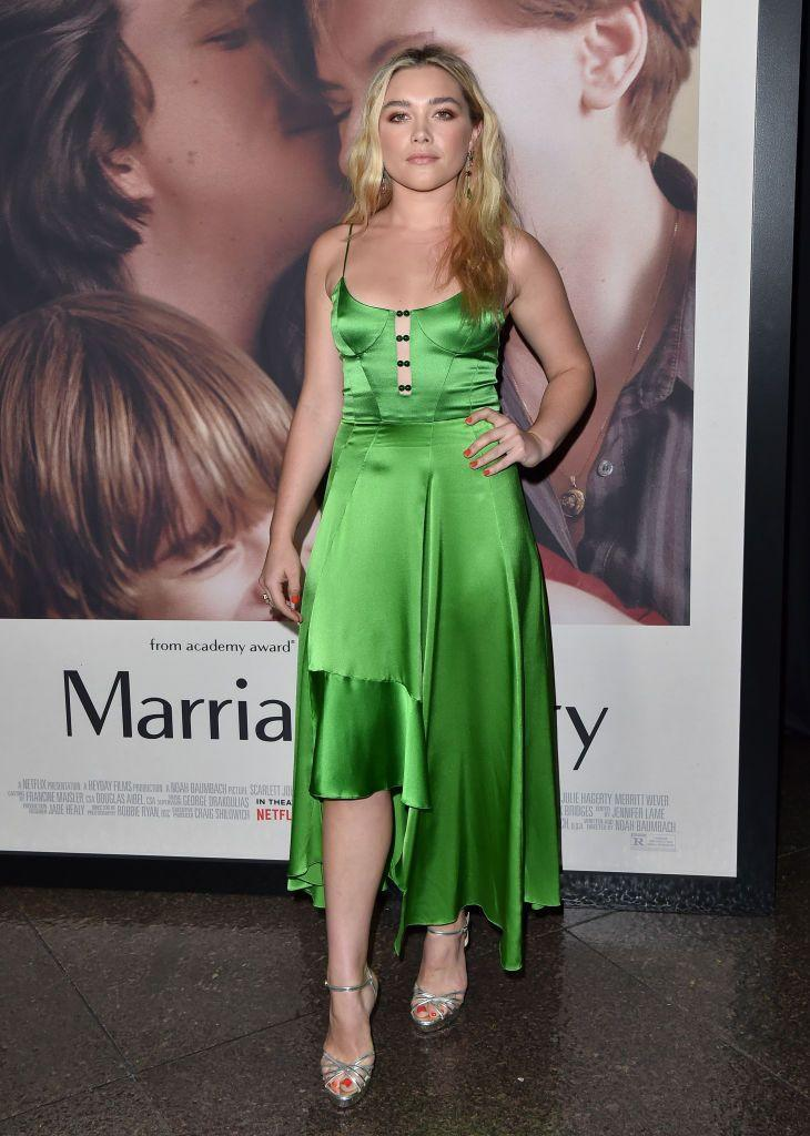 <p>Pugh wore a green, slip-style dress to the Premiere of Netflix's Marriage Story, November 2019.</p>