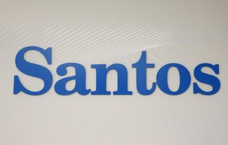 FILE PHOTO: The logo of Australian oil and gas producer Santos Ltd is pictured in Sydney