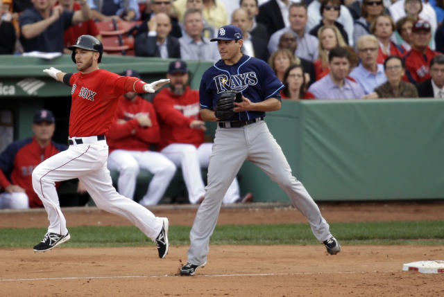 Boston Red Sox's Stephen Drew, left, reacts after beating out a throw to first where Tampa Bay Rays starting pitcher Matt Moore was covering during the fourth inning of Game 1 of baseball's American League division series, Friday, Oct. 4, 2013, in Boston. (AP Photo/Stephan Savoia)