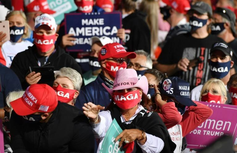 Donald Trump supporters gathered to hear the president at a rally in Swanton, Ohio on September 21, 2020