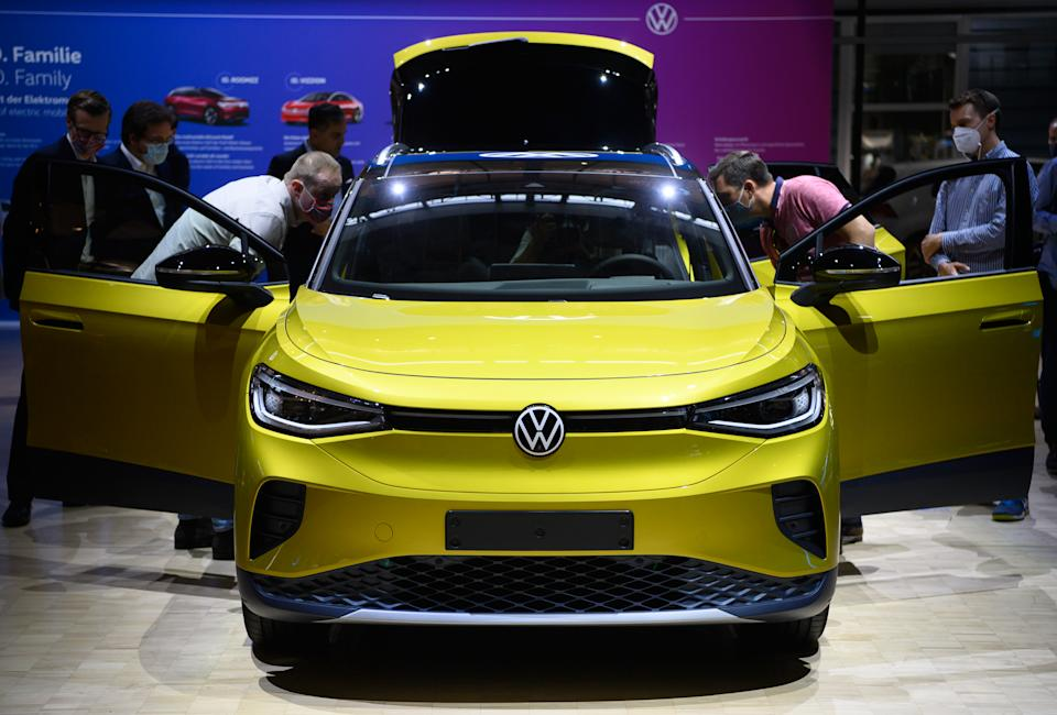 Volkswagen's ID4, the brand's first electric SUV, on show in Saxony, Dresden, Germany, on 23 September. Photo: Robert Michael/Picture Alliance via Getty