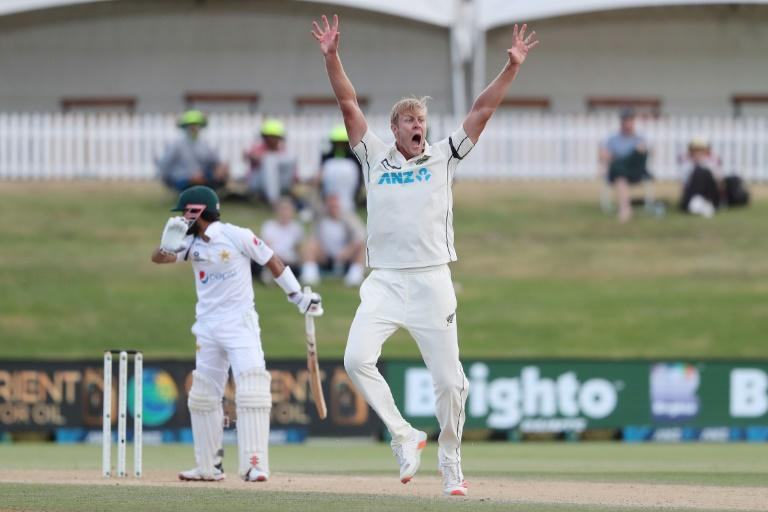 New Zealand's Kyle Jamieson celebrates after another wicket