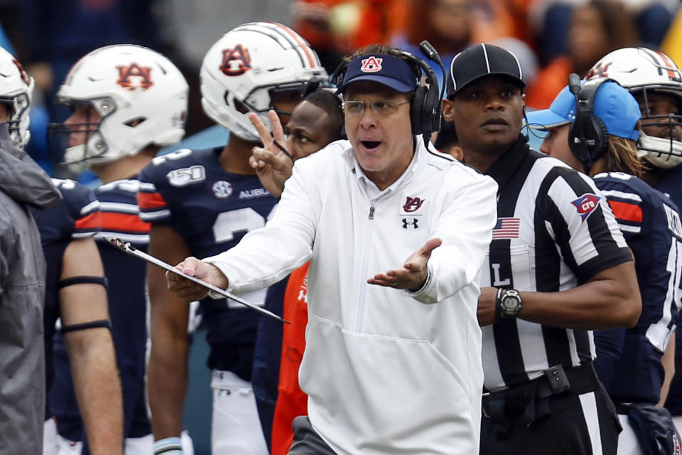 Auburn head coach Gus Malzahn reacts to a call during the second half of an NCAA college football game against Samford, Saturday, Nov. 23, 2019, in Auburn, Ala. (AP Photo/Butch Dill)