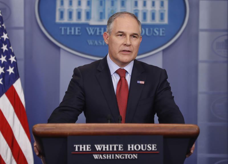 FILE - In this June 2, 2017, file photo, EPA Administrator Scott Pruitt speaks to the media during the daily briefing in the Brady Press Briefing Room of the White House in Washington.  Pruitt is telling senators that he never made any promises to billionaire investor Carl Icahn about renewable fuel credits that were costing one of his companies millions. (AP Photo/Pablo Martinez Monsivais, File)